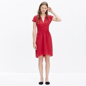 Madewell Silk Fable Red Dress Size 0